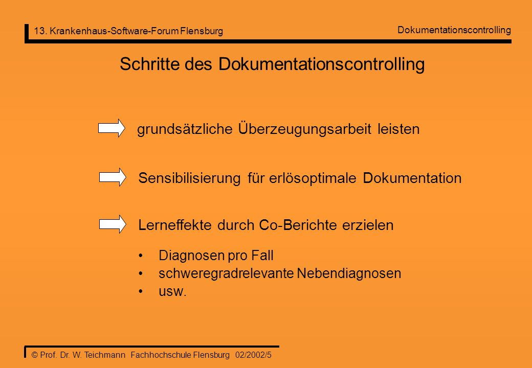 13. Krankenhaus-Software-Forum Flensburg © Prof. Dr. W. Teichmann Fachhochschule Flensburg 02/2002/5 Schritte des Dokumentationscontrolling grundsätzl