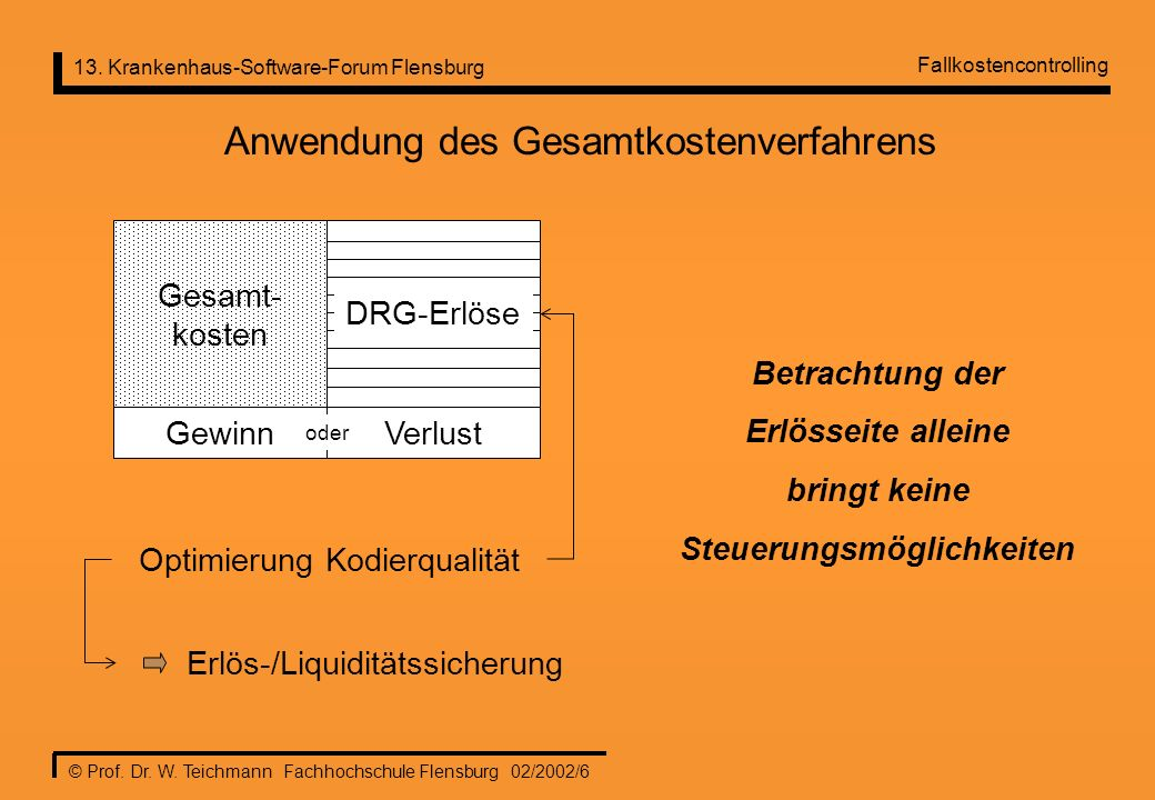 13. Krankenhaus-Software-Forum Flensburg © Prof. Dr. W. Teichmann Fachhochschule Flensburg 02/2002/6 Anwendung des Gesamtkostenverfahrens Gesamt- kost