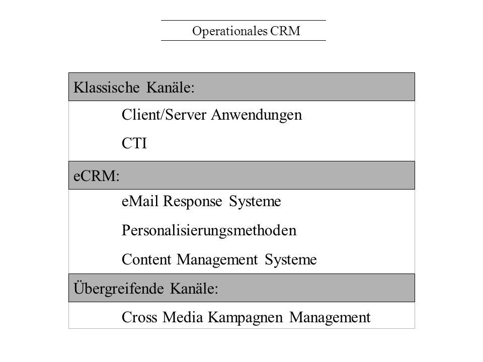 Operationales CRM Client/Server Anwendungen CTI eCRM: eMail Response Systeme Personalisierungsmethoden Content Management Systeme Übergreifende Kanäle