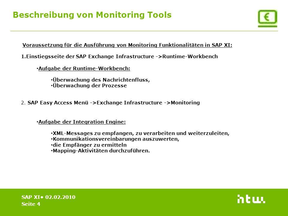 Beschreibung von Monitoring Tools Seite 4 SAP XI 02.02.2010 Voraussetzung für die Ausführung von Monitoring Funktionalitäten in SAP XI: 1.Einstiegsseite der SAP Exchange Infrastructure ->Runtime-Workbench 2.
