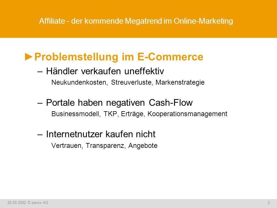 29.05.2002 © zanox AG2 Affiliate - der kommende Megatrend im Online-Marketing Problemstellung im E-Commerce –Händler verkaufen uneffektiv Neukundenkos