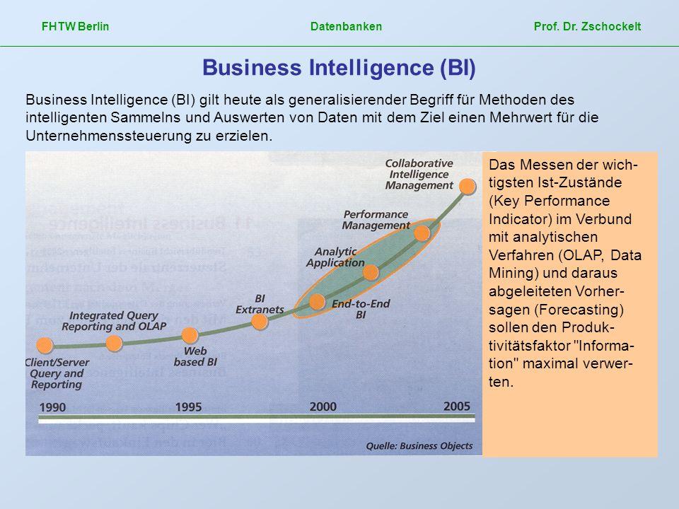 FHTW Berlin Datenbanken Prof. Dr. Zschockelt Business Intelligence (BI) Business Intelligence (BI) gilt heute als generalisierender Begriff für Method
