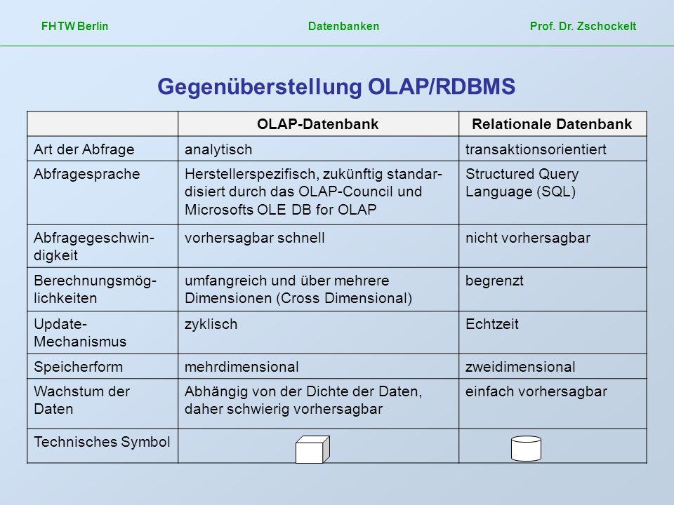 OLAP-DatenbankRelationale Datenbank Art der Abfrageanalytischtransaktionsorientiert AbfragespracheHerstellerspezifisch, zukünftig standar- disiert dur