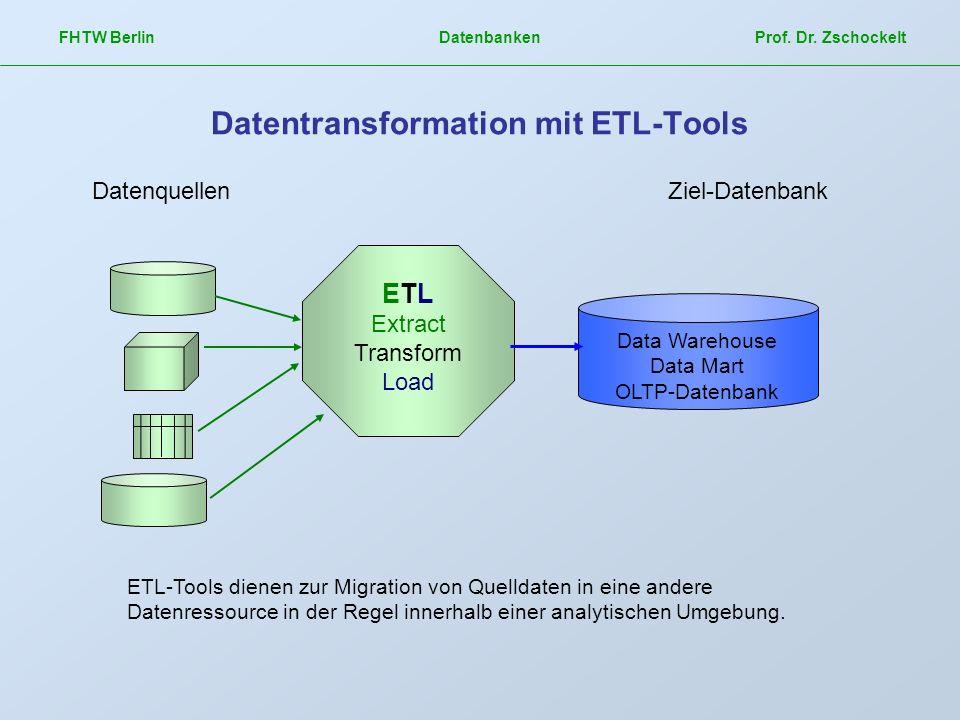 FHTW Berlin Datenbanken Prof. Dr. Zschockelt Datentransformation mit ETL-Tools Data Warehouse Data Mart OLTP-Datenbank ETL Extract Transform Load Date