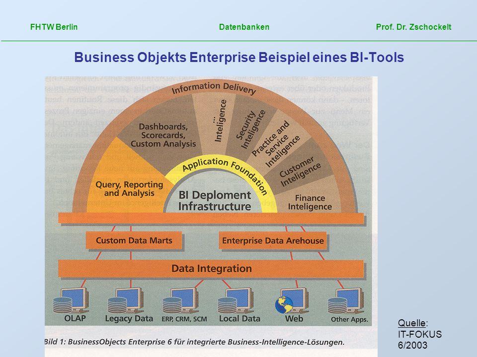 FHTW Berlin Datenbanken Prof. Dr. Zschockelt Business Objekts Enterprise Beispiel eines BI-Tools Quelle: IT-FOKUS 6/2003