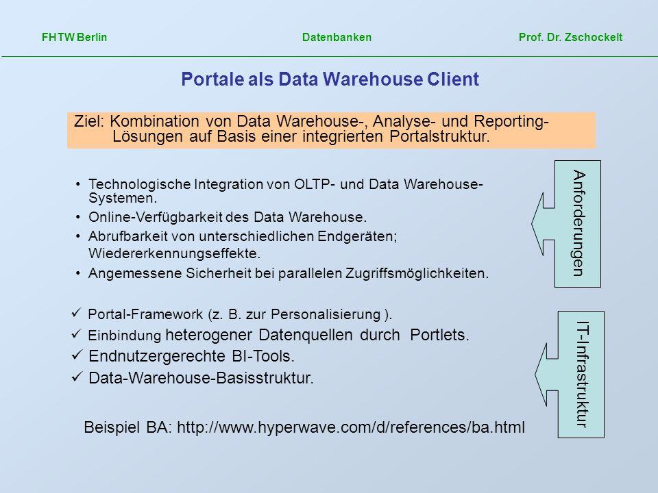 FHTW Berlin Datenbanken Prof. Dr. Zschockelt Portale als Data Warehouse Client Beispiel BA: http://www.hyperwave.com/d/references/ba.html Ziel: Kombin