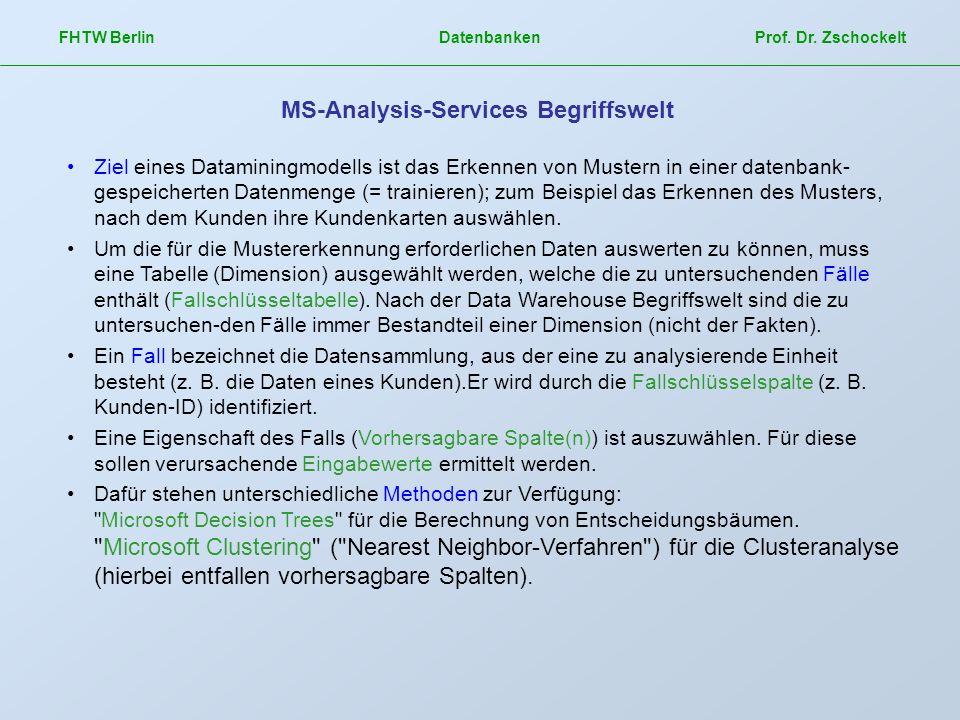 FHTW Berlin Datenbanken Prof. Dr. Zschockelt MS-Analysis-Services Begriffswelt Ziel eines Dataminingmodells ist das Erkennen von Mustern in einer date