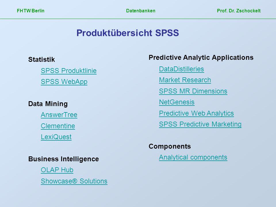 FHTW Berlin Datenbanken Prof. Dr. Zschockelt Produktübersicht SPSS Statistik SPSS Produktlinie SPSS WebApp Data Mining AnswerTree Clementine LexiQuest