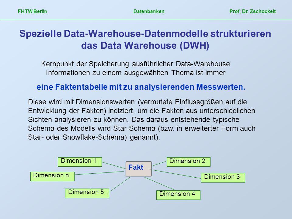 FHTW Berlin Datenbanken Prof. Dr. Zschockelt Spezielle Data-Warehouse-Datenmodelle strukturieren das Data Warehouse (DWH) Kernpunkt der Speicherung au