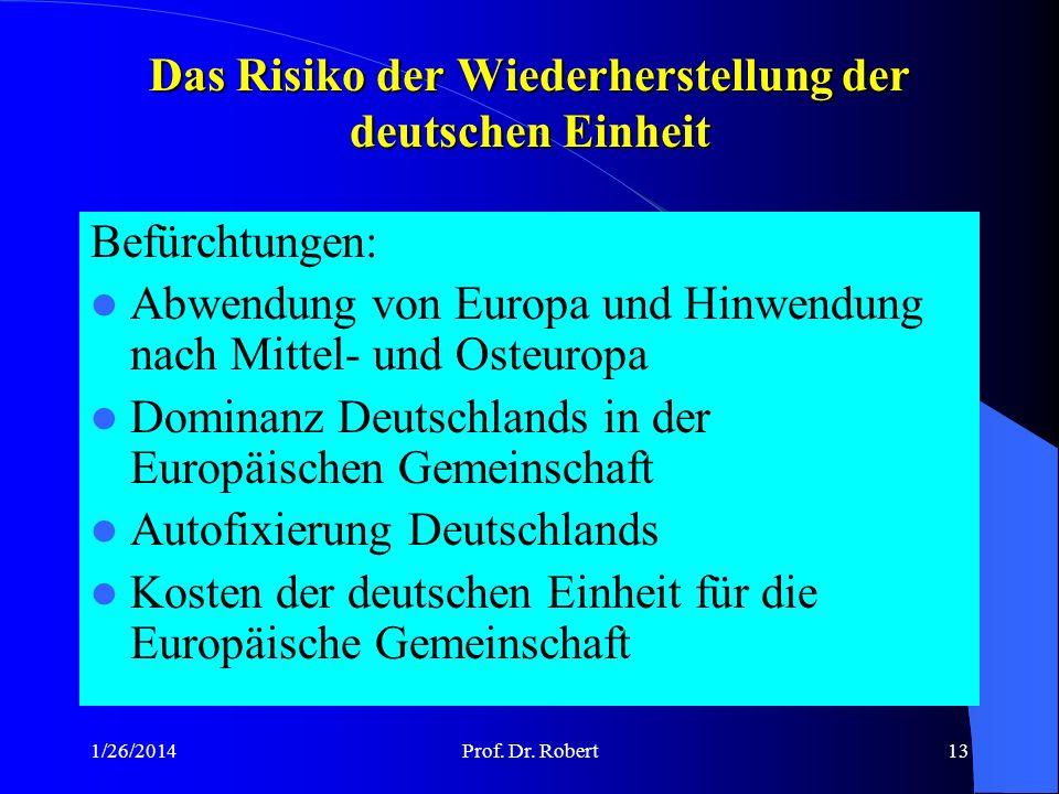 1/26/2014Prof.Dr. Robert12 Bundesrepublik Deutschland und Europ.