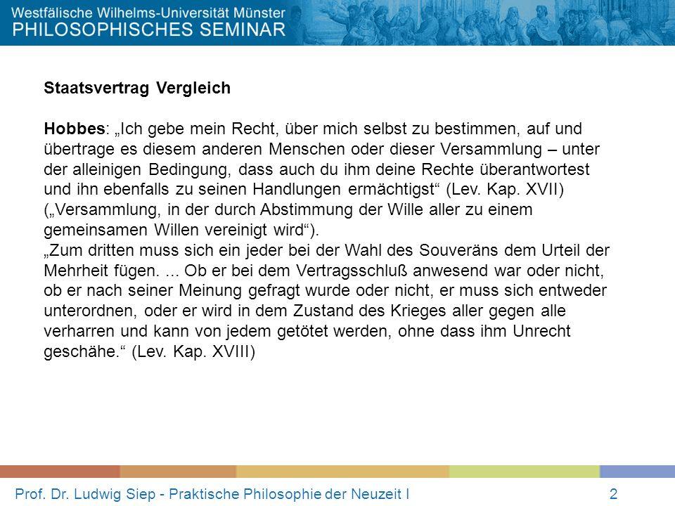 Prof. Dr. Ludwig Siep - Praktische Philosophie der Neuzeit I2 Staatsvertrag Vergleich Hobbes: Ich gebe mein Recht, über mich selbst zu bestimmen, auf