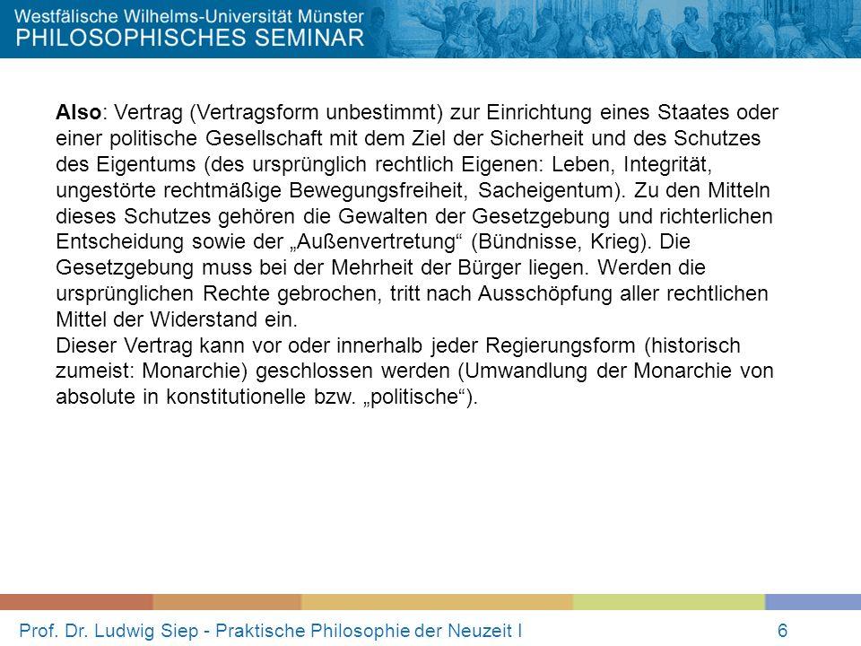 Prof. Dr. Ludwig Siep - Praktische Philosophie der Neuzeit I6 Also: Vertrag (Vertragsform unbestimmt) zur Einrichtung eines Staates oder einer politis