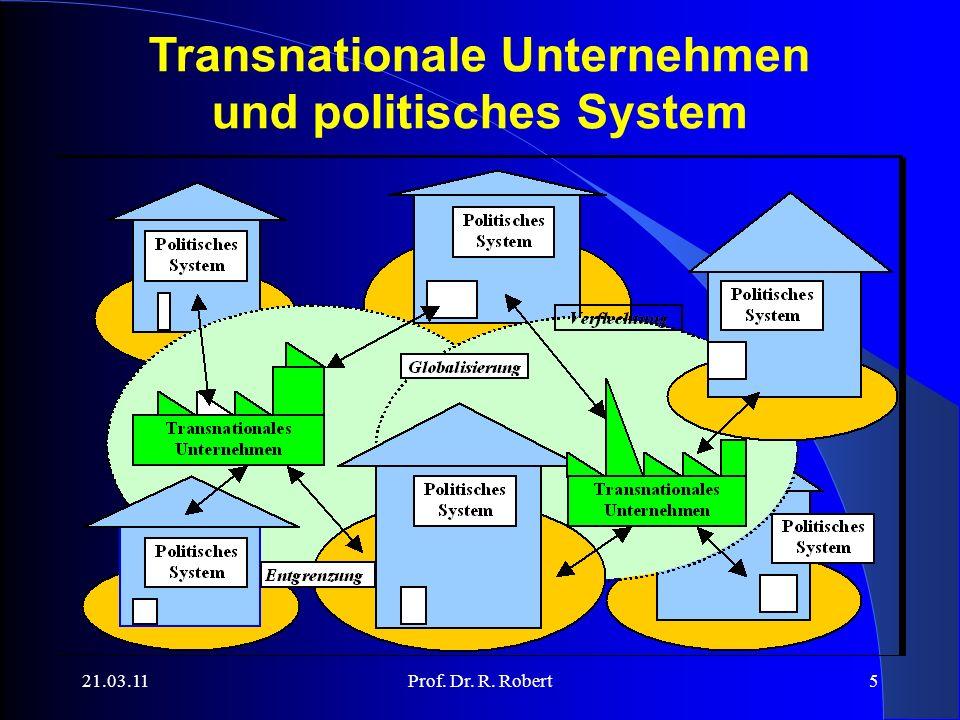 21.03.11Prof. Dr. R. Robert5 Transnationale Unternehmen und politisches System
