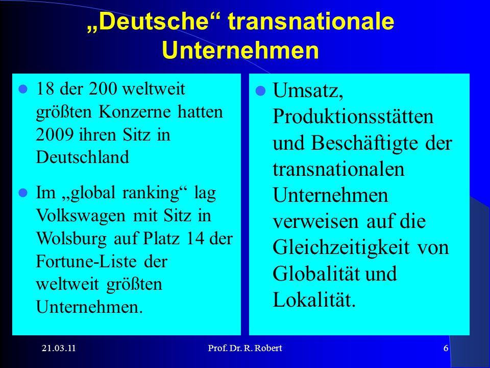 21.03.11Prof. Dr. R. Robert17 Übersicht: Souveränitätsverlust, Entgrenzung und Global Governance