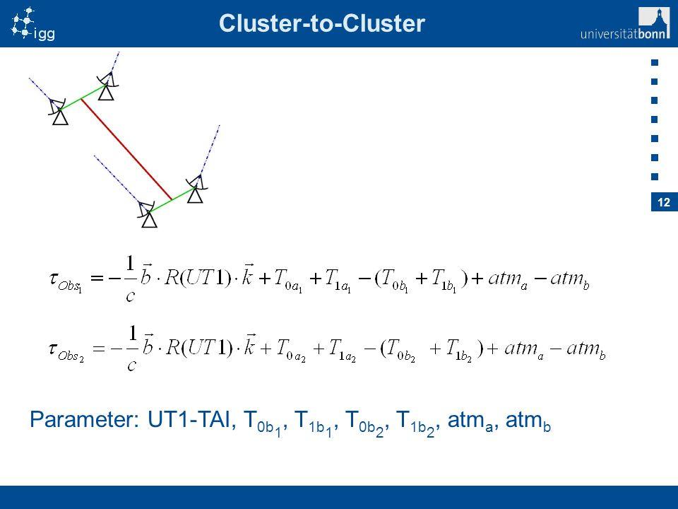 12 Cluster-to-Cluster Parameter: UT1-TAI, T 0b 1, T 1b 1, T 0b 2, T 1b 2, atm a, atm b
