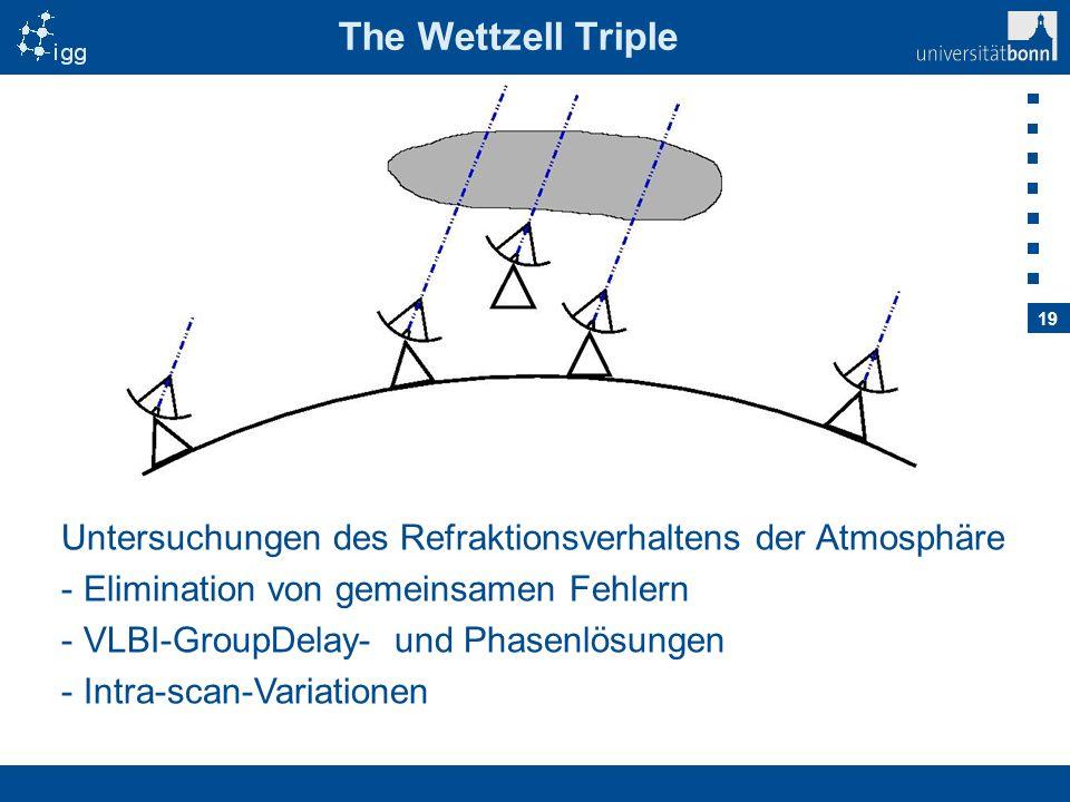 19 The Wettzell Triple Untersuchungen des Refraktionsverhaltens der Atmosphäre - Elimination von gemeinsamen Fehlern - VLBI-GroupDelay- und Phasenlösu