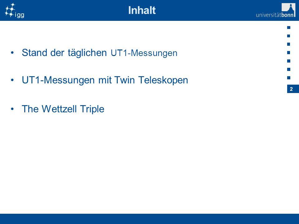 2 Inhalt Stand der täglichen UT1-Messungen UT1-Messungen mit Twin Teleskopen The Wettzell Triple