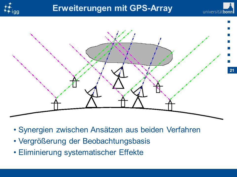 21 Erweiterungen mit GPS-Array Synergien zwischen Ansätzen aus beiden Verfahren Vergrößerung der Beobachtungsbasis Eliminierung systematischer Effekte