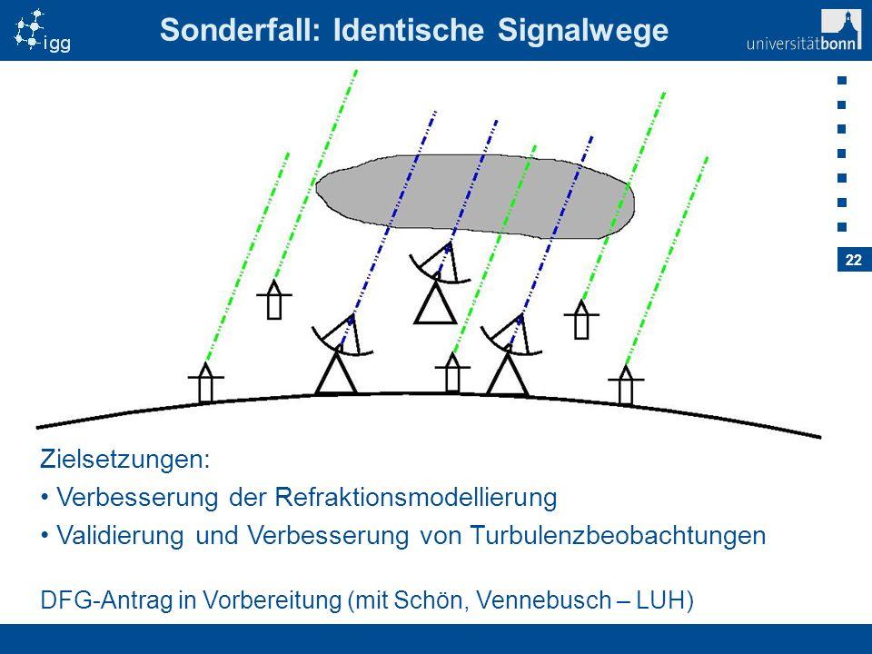 22 Sonderfall: Identische Signalwege DFG-Antrag in Vorbereitung (mit Schön, Vennebusch – LUH) Zielsetzungen: Verbesserung der Refraktionsmodellierung