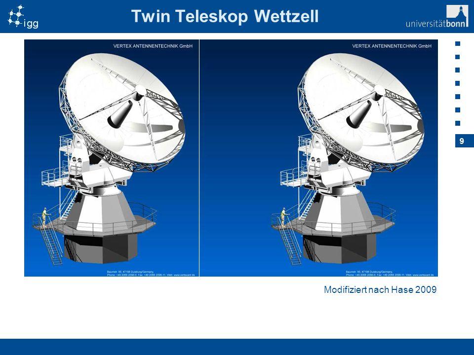 10 Cluster-to-Cluster-VLBI Gleichzeitige Beobachtung in zwei Richtungen Mehr Beobachtungen Bessere Abtastung der neutralen Atmosphäre für Schätzung des Zenitparameters Bessere Trennung der Atmosphärenparameter und UT1-UTC von den Uhrenparametern