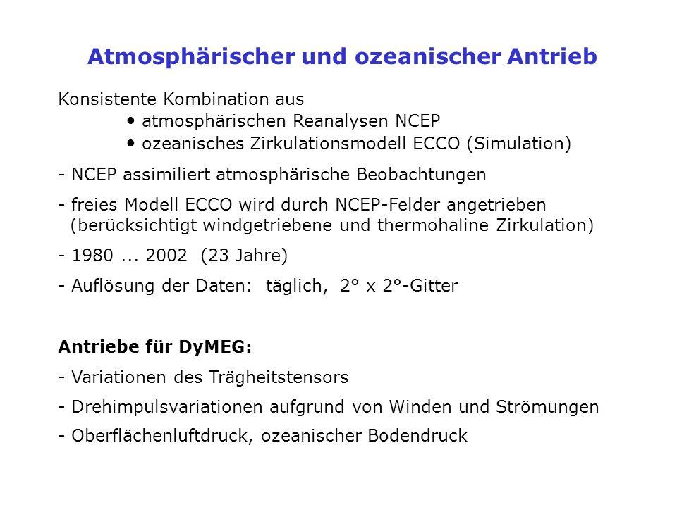 Atmosphärischer und ozeanischer Antrieb Konsistente Kombination aus atmosphärischen Reanalysen NCEP ozeanisches Zirkulationsmodell ECCO (Simulation) -