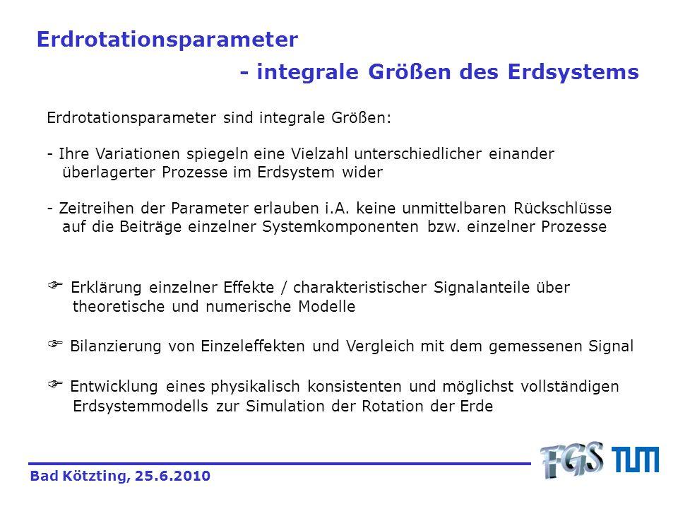 Erdrotationsparameter - integrale Größen des Erdsystems Bad Kötzting, 25.6.2010 Erdrotationsparameter sind integrale Größen: - Ihre Variationen spiege