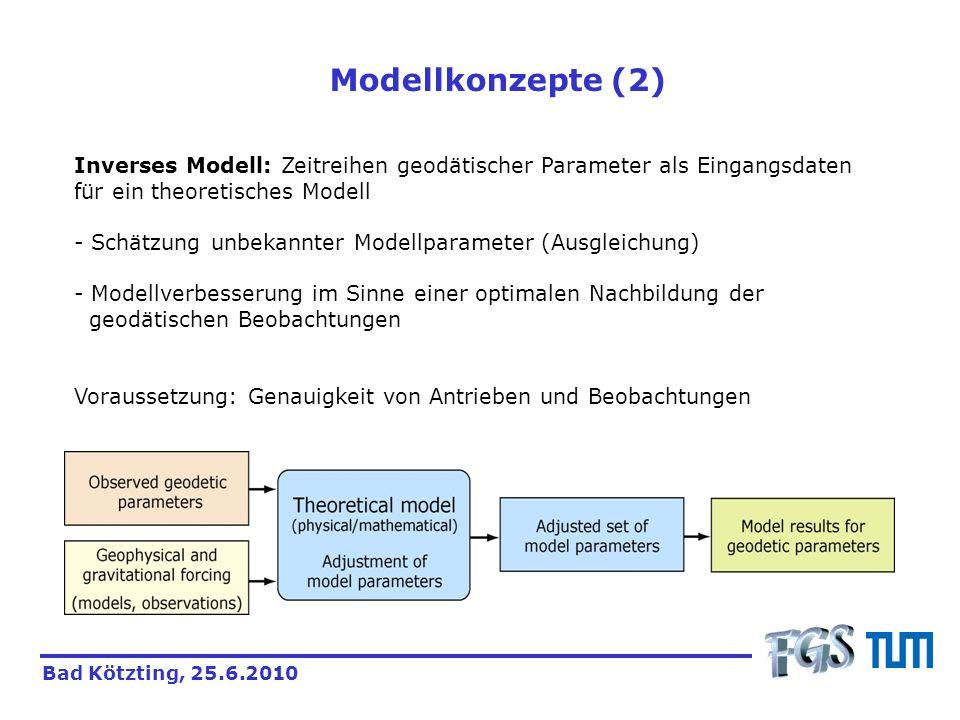 Drehimpulsbilanzierung im Erdsystem Modellansätze zur Erdrotation beruhen auf der Drehimpulsbilanz im rotierenden Bezugssystem der Erde (Euler-Liouville-Gleichung): Bad Kötzting, 25.6.2010 mit dem Drehimpuls I(t):Trägheitstensor der Erde (Anordnung der Massenelemente im System) h(t):Drehimpulse aufgrund der Bewegung der Massenelemente im System (t):Erdrotationsvektor L(t):externe Drehmomente Lösung nach (t) liefert Variationen der Erdrotation (Vorwärtsmodell) Einführung von (t) ermöglicht die Schätzung von Prozessen / Parametern