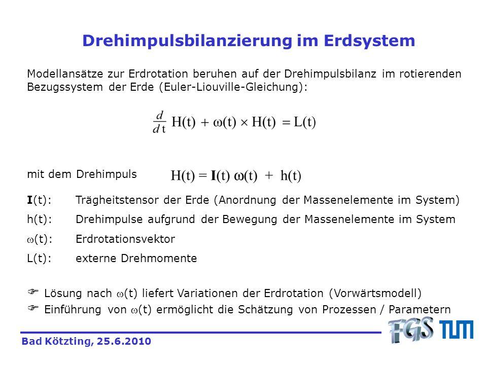 Drehimpulsbilanzierung im Erdsystem Modellansätze zur Erdrotation beruhen auf der Drehimpulsbilanz im rotierenden Bezugssystem der Erde (Euler-Liouvil