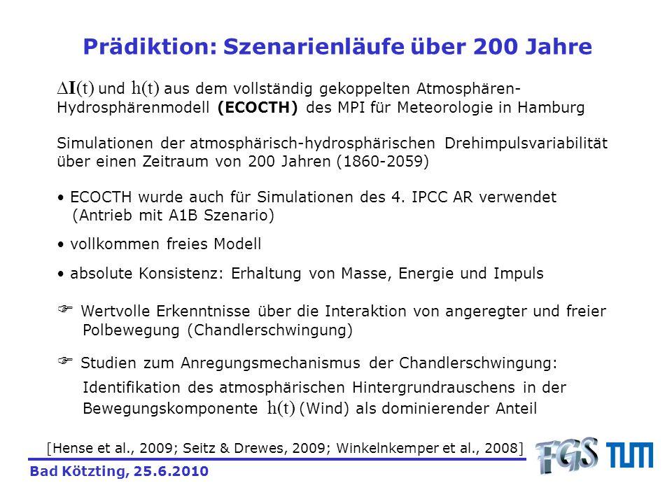 Prädiktion: Szenarienläufe über 200 Jahre I(t) und h(t) aus dem vollständig gekoppelten Atmosphären- Hydrosphärenmodell (ECOCTH) des MPI für Meteorolo