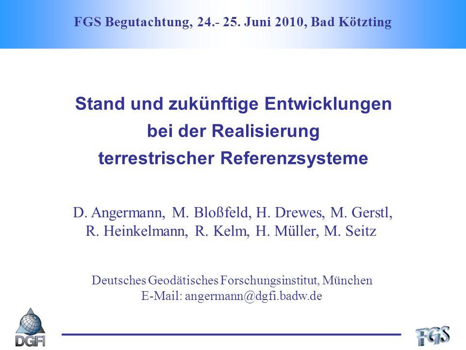 Thematische Schwerpunkte Eingangsdaten zur TRF-Berechnung Nicht-lineare Stationsbewegungen Kombinationsstrategien Verknüpfung der Beobachtungsverfahren Festlegung des geodätischen Datums Konsistente Bestimmung von TRF, CRF, EOP und niederen harm.