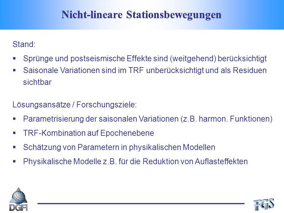 Nicht-lineare Stationsbewegungen Stand: Sprünge und postseismische Effekte sind (weitgehend) berücksichtigt Saisonale Variationen sind im TRF unberücksichtigt und als Residuen sichtbar Lösungsansätze / Forschungsziele: Parametrisierung der saisonalen Variationen (z.B.