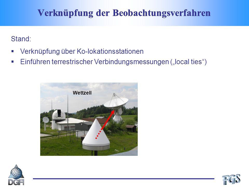 Verknüpfung der Beobachtungsverfahren Wettzell Stand: Verknüpfung über Ko-lokationsstationen Einführen terrestrischer Verbindungsmessungen (local ties)