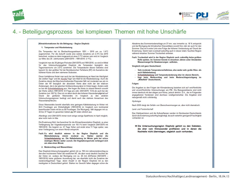 Statuskonferenz Nachhaltiges Landmanagement – Berlin, 18.04.13 4. - Beteiligungsprozess bei komplexen Themen mit hohe Unschärfe