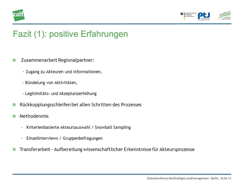 Statuskonferenz Nachhaltiges Landmanagement – Berlin, 18.04.13 Fazit (1): positive Erfahrungen Zusammenarbeit Regionalpartner: - Zugang zu Akteuren un