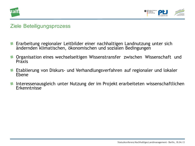 Statuskonferenz Nachhaltiges Landmanagement – Berlin, 18.04.13 Ziele Beteiligungsprozess Erarbeitung regionaler Leitbilder einer nachhaltigen Landnutz