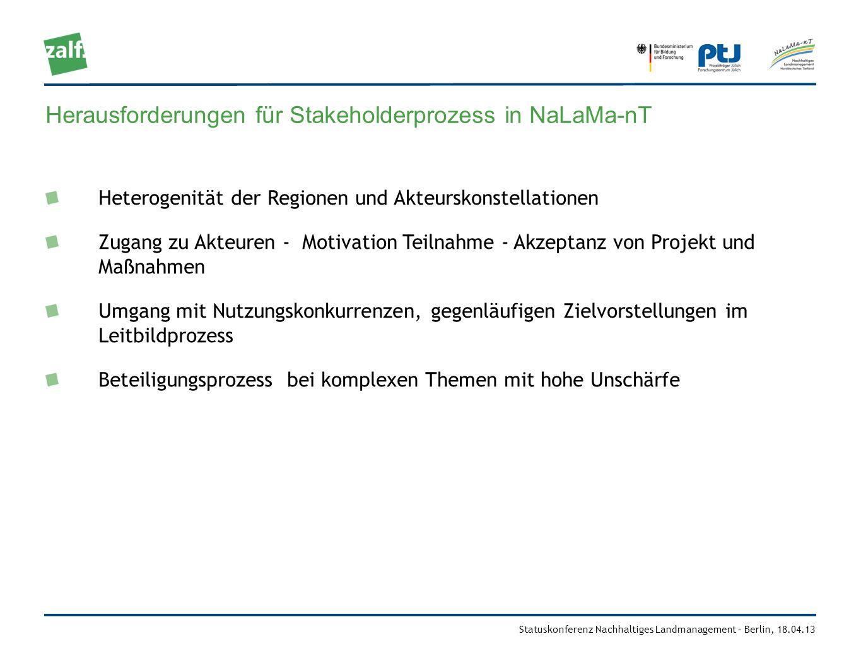Statuskonferenz Nachhaltiges Landmanagement – Berlin, 18.04.13 Herausforderungen für Stakeholderprozess in NaLaMa-nT Heterogenität der Regionen und Ak