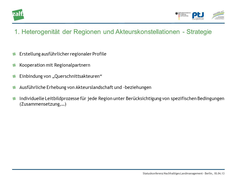 Statuskonferenz Nachhaltiges Landmanagement – Berlin, 18.04.13 Erstellung ausführlicher regionaler Profile Kooperation mit Regionalpartnern Einbindung