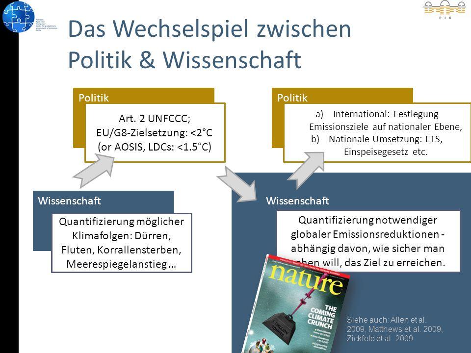 Wissenschaft Das Wechselspiel zwischen Politik & Wissenschaft Wissenschaft Politik Quantifizierung möglicher Klimafolgen: Dürren, Fluten, Korrallensterben, Meerespiegelanstieg … Art.