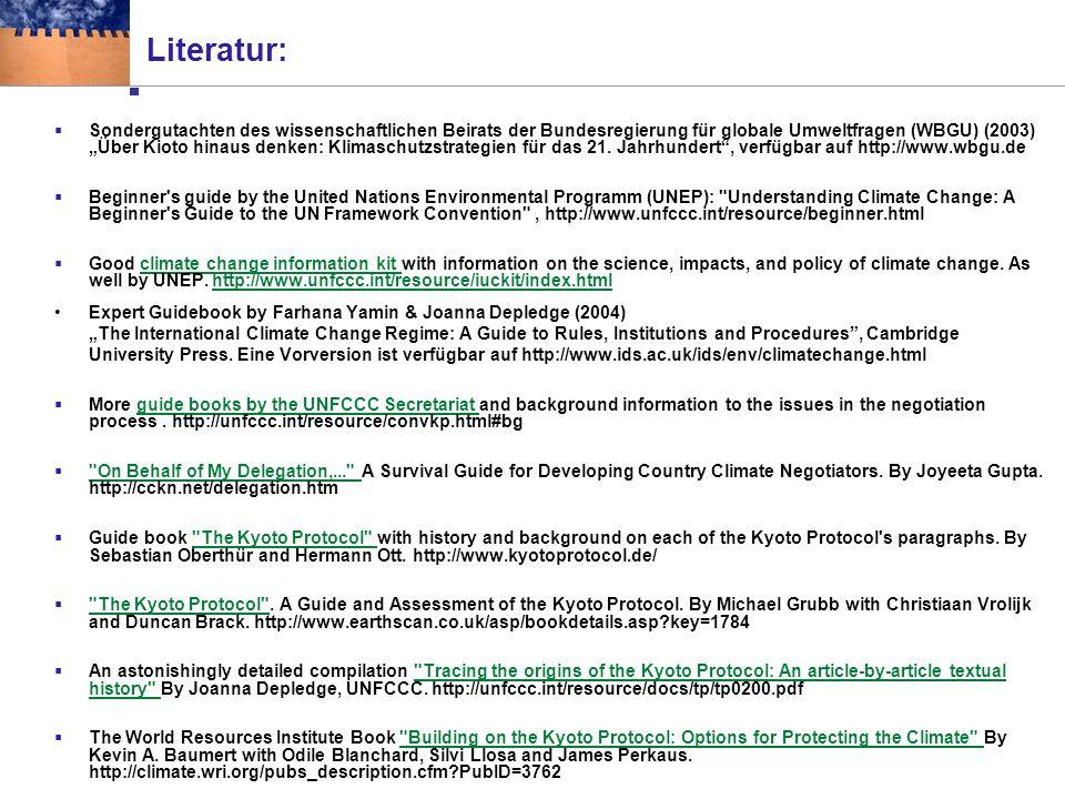 Literatur & Websites Kontakt: Malte Meinshausen, malte.meinshausen@env.ethz.ch www.up.umnw.ethz.ch/~mmalte/ch-klimapolitik/