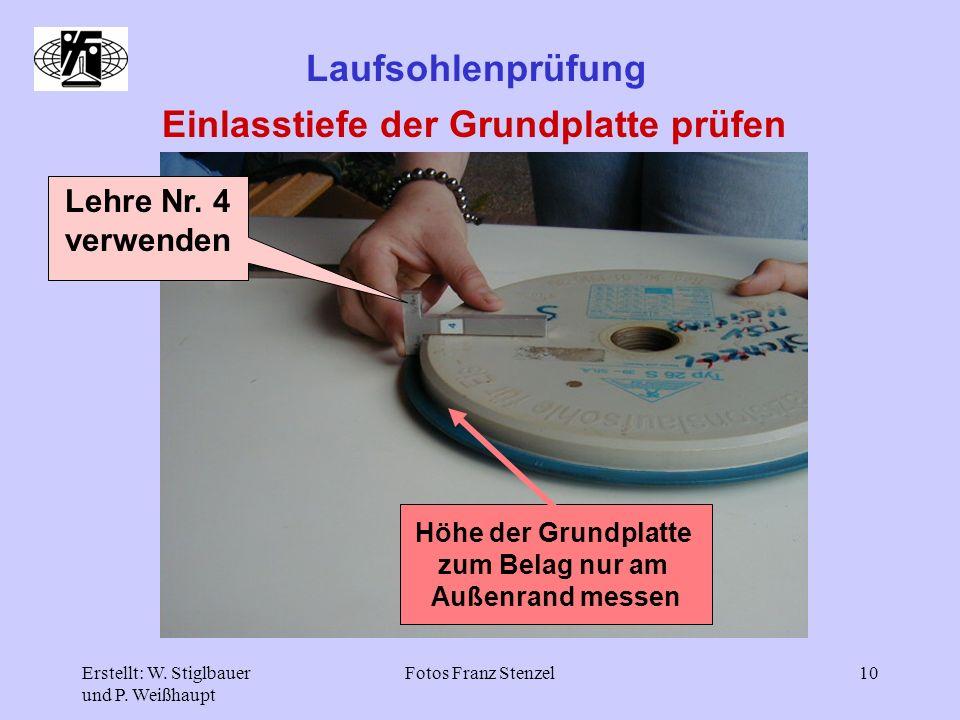 Erstellt: W. Stiglbauer und P. Weißhaupt Fotos Franz Stenzel10 Laufsohlenprüfung Einlasstiefe der Grundplatte prüfen Lehre Nr. 4 verwenden Höhe der Gr