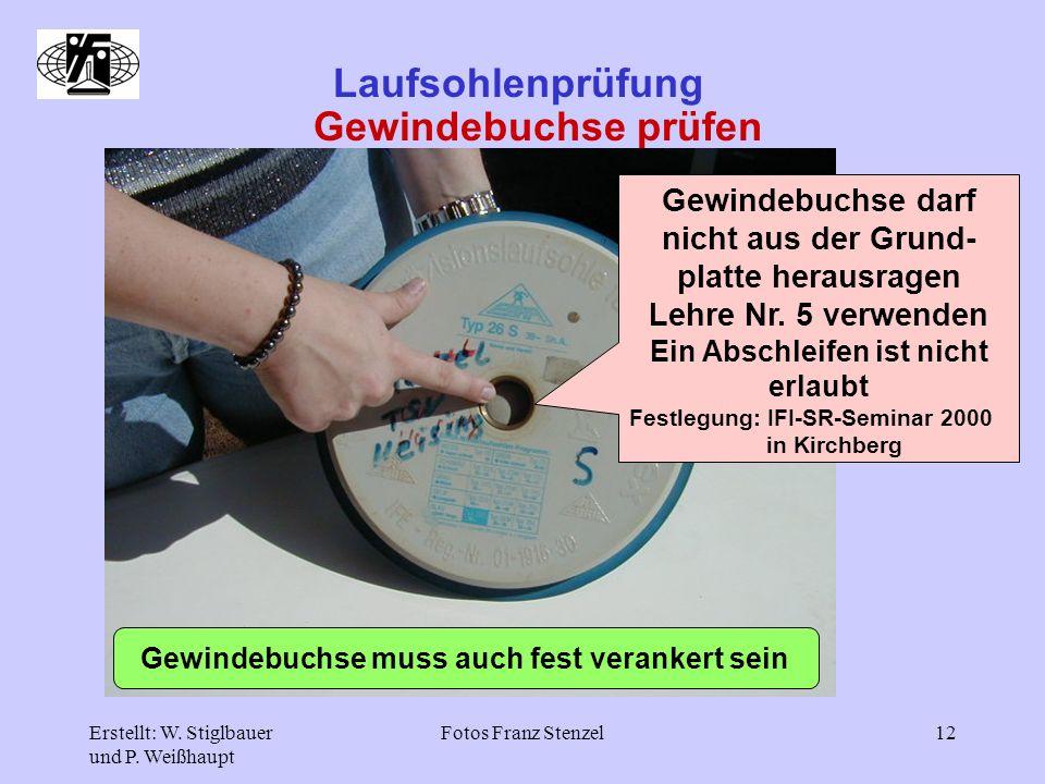 Erstellt: W. Stiglbauer und P. Weißhaupt Fotos Franz Stenzel12 Laufsohlenprüfung Gewindebuchse prüfen Gewindebuchse darf nicht aus der Grund- platte h