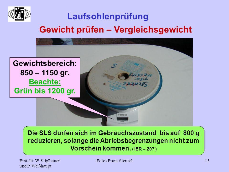 Erstellt: W. Stiglbauer und P. Weißhaupt Fotos Franz Stenzel13 Laufsohlenprüfung Gewicht prüfen – Vergleichsgewicht Gewichtsbereich: 850 – 1150 gr. Be