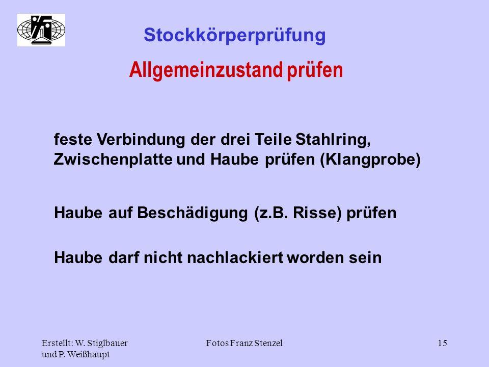 Erstellt: W. Stiglbauer und P. Weißhaupt Fotos Franz Stenzel15 Stockkörperprüfung Allgemeinzustand prüfen feste Verbindung der drei Teile Stahlring, Z