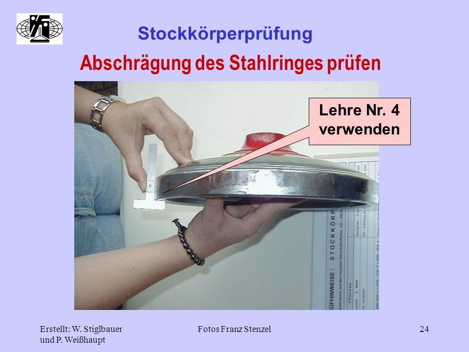 Erstellt: W. Stiglbauer und P. Weißhaupt Fotos Franz Stenzel24 Stockkörperprüfung Abschrägung des Stahlringes prüfen Lehre Nr. 4 verwenden