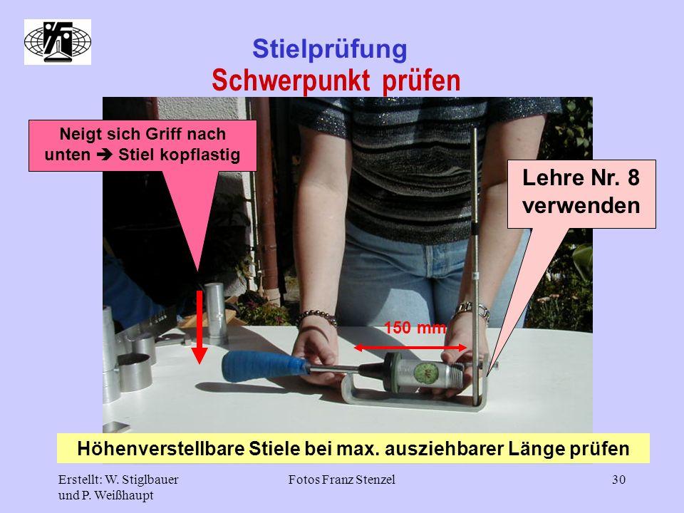 Erstellt: W. Stiglbauer und P. Weißhaupt Fotos Franz Stenzel30 Stielprüfung Schwerpunkt prüfen Lehre Nr. 8 verwenden Höhenverstellbare Stiele bei max.