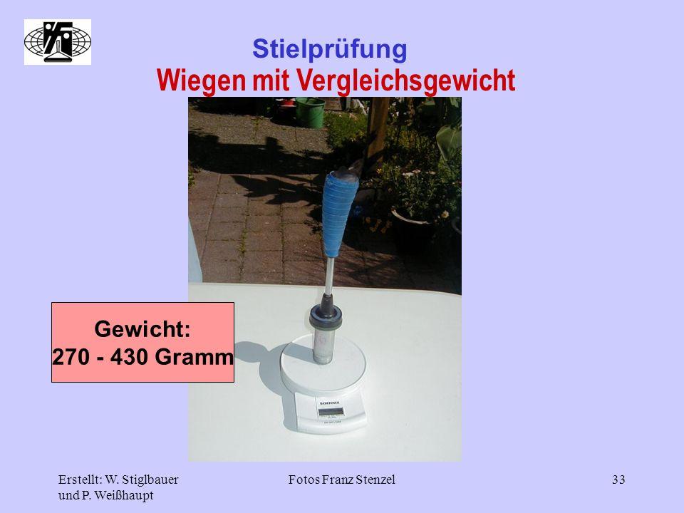 Erstellt: W. Stiglbauer und P. Weißhaupt Fotos Franz Stenzel33 Stielprüfung Wiegen mit Vergleichsgewicht Gewicht: 270 - 430 Gramm