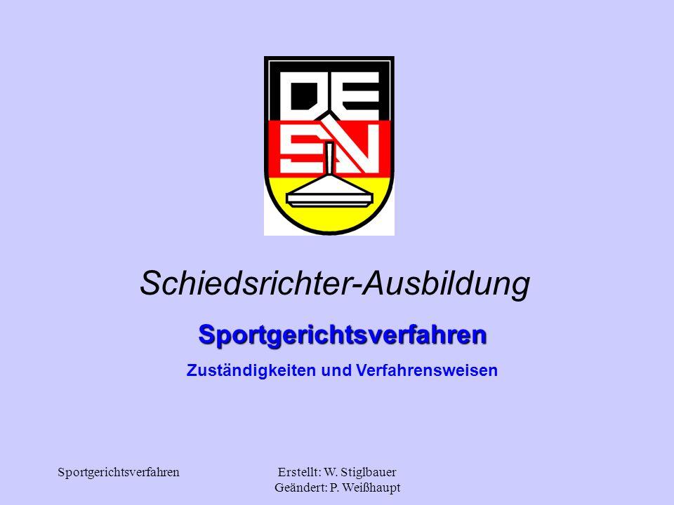 SportgerichtsverfahrenErstellt: W. Stiglbauer Geändert: P. Weißhaupt Schiedsrichter-Ausbildung Sportgerichtsverfahren Zuständigkeiten und Verfahrenswe