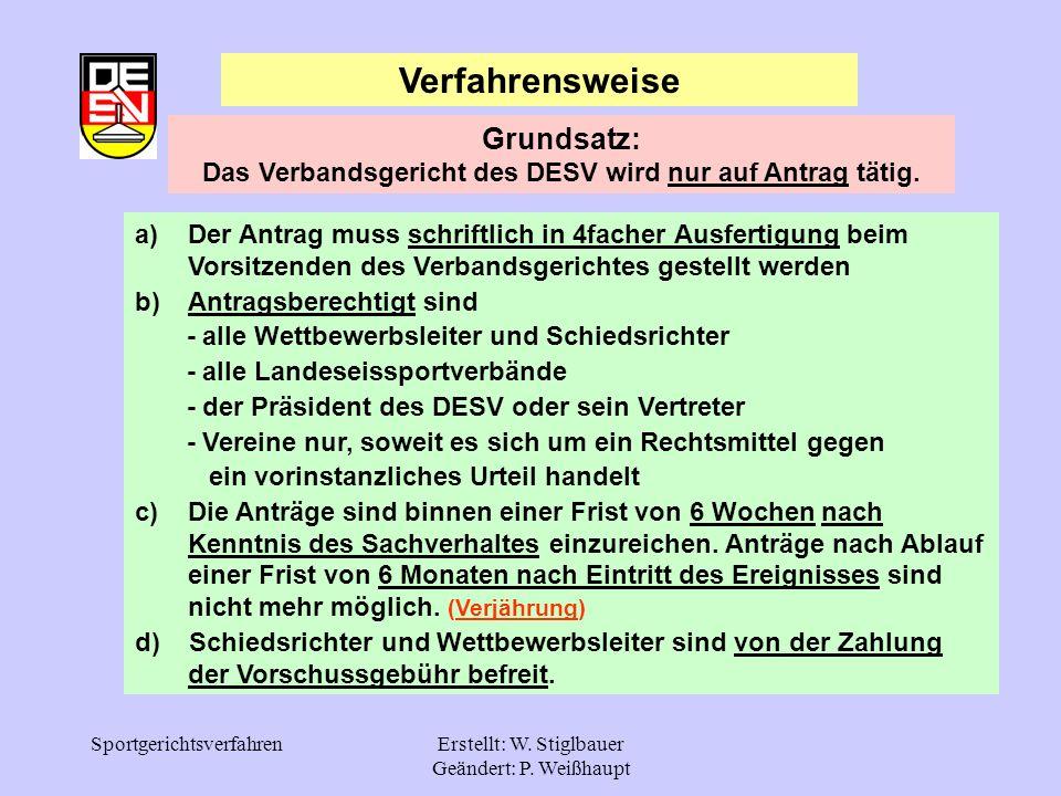 SportgerichtsverfahrenErstellt: W. Stiglbauer Geändert: P. Weißhaupt Verfahrensweise a)Der Antrag muss schriftlich in 4facher Ausfertigung beim Vorsit