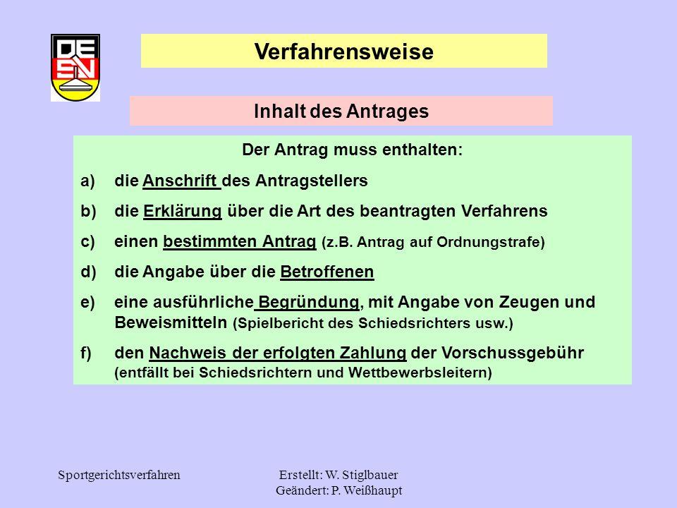SportgerichtsverfahrenErstellt: W. Stiglbauer Geändert: P. Weißhaupt Verfahrensweise Der Antrag muss enthalten: a)die Anschrift des Antragstellers b)d