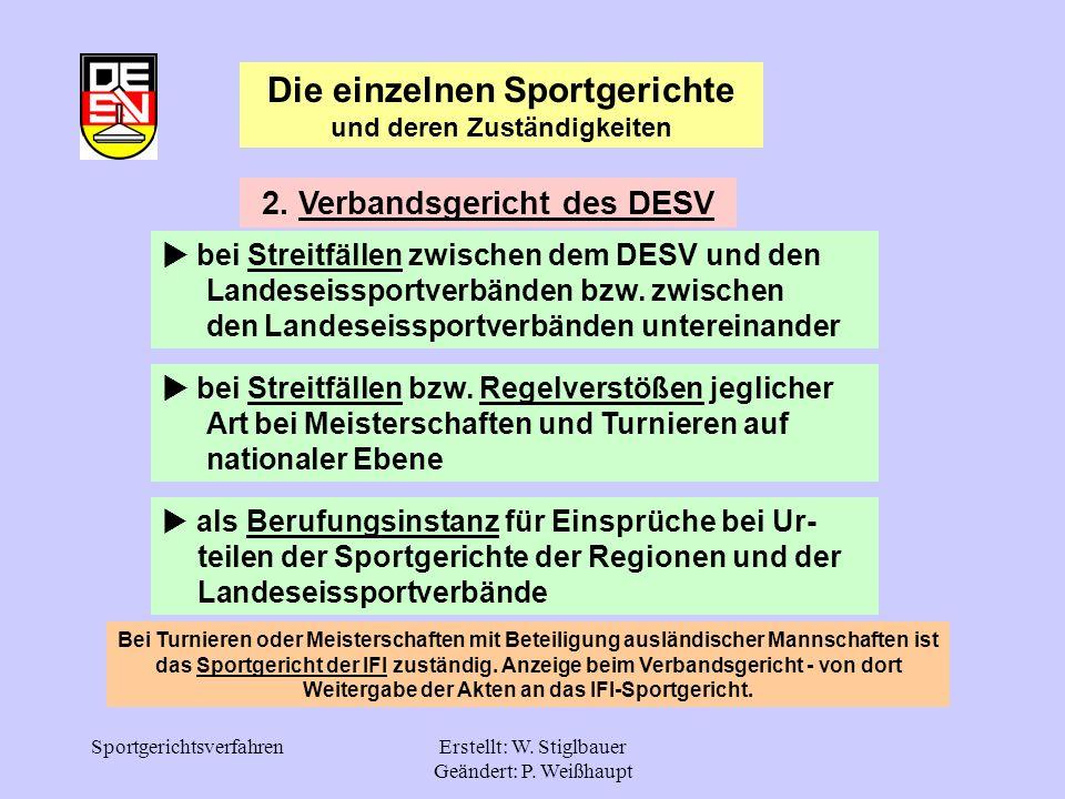 SportgerichtsverfahrenErstellt: W. Stiglbauer Geändert: P. Weißhaupt 2. Verbandsgericht des DESV bei Streitfällen zwischen dem DESV und den.....Landes